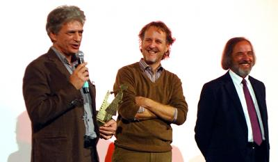 Fabrizio Bentivoglio and Francesco Bruni, leading actor and filmmaker of <i>Scialla!</i> with Gino Buscaglia, President