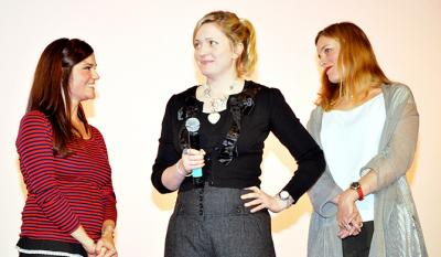 Bindu de Stoppani and Claire Price, filmmaker and leading actress of <i>Jump</i>, with Emily Man producer