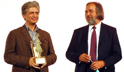 Fabrizio Bentivoglio, Castello d'Onore Award, leading actor of <i>Scialla!</i>, and Gino Buscaglia President of the Festival