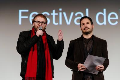 Michael Beltrami producer RSI, Misha Györik director (I ragazzi dello sciopero)- Audience Award