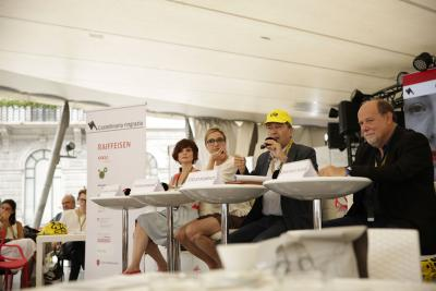 Press conference 11.08.19 - Gabriella De Gara, Stelio Righenzi (vice presidents), Flavia Marone (president), Giancarlo Zappoli (artistic director)